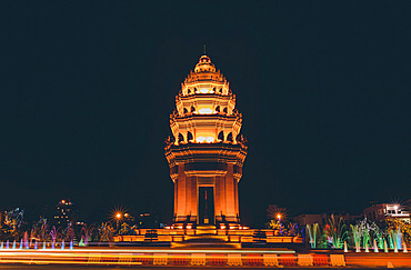 Independence Monument at night in Phnom Penh; Phnom Penh, Phnom Penh, Cambodia