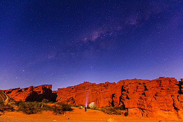 Milky Way over a rock formation; Tres Cruces, Jujuy Province, Argentina