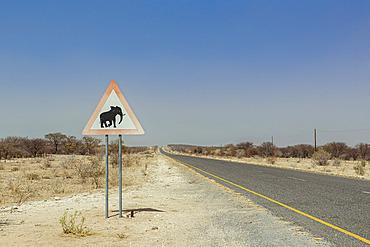 Elephants warning sign on a roadside; Namibia