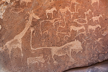 Twyfelfontein, an ancient rock engravings site in Damaraland; Kunene Region, Namibia