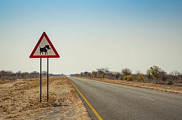 Warthog warning sign; Namibia