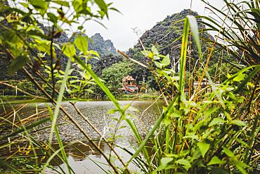 House and foliage along the Red River, Red River Delta; Ninh Binh, Vietnam
