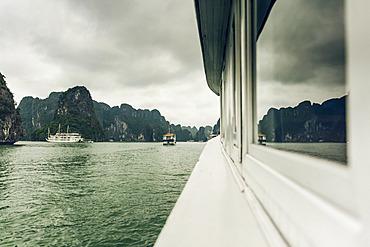 Ha Long Bay with boats; Quang Ninh Province, Vietnam