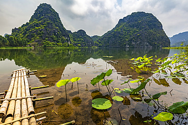 Ninh Binh landscape with mountain and water; Ninh Binh Province, Vietnam