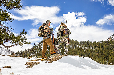 Hunters with camouflage clothing and rifle looking out to a forest; Denver, Colorado, United States of America