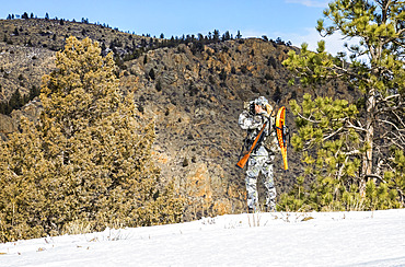 Hunter with camouflage clothing and rifle looking out with binoculars; Denver, Colorado, United States of America
