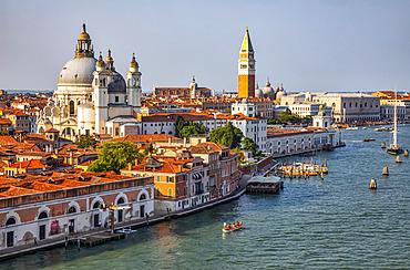 Santa Maria della Salute and the Campanile of St. Mark's Square on the Grand Canal; Venice, Italy