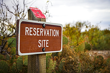 Reservation sign at campground, Oliver Lee Memorial State Park; Alamogordo, New Mexico, United States of America