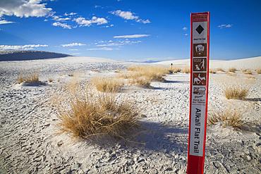 Start of Alkali Flat Trail, a hiking trail, White Sands National Monument; Alamogordo, New Mexico, United States of America