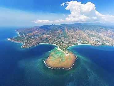 Drone view of Senggigi Beach; Lombok Barat, West Nusa Tenggara, Indonesia