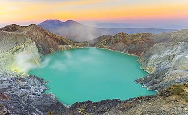 Sunrise at Ijen Volcano crater; East Java, Java, Indonesia