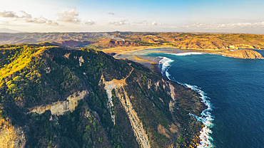 Drone view of Pengempos, Areguling Beach at sunset; Lombok Tengah, West Nusa Tenggara, Indonesia