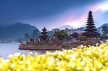 Sunset at Ulun Danu Beratan temple, a major Hindu Shaivite water temple on Lake Bratan; Bali, Indonesia