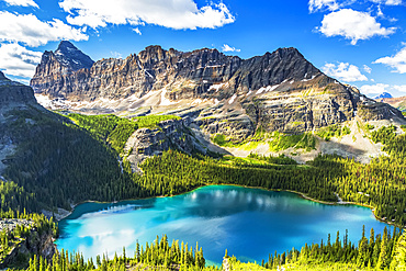 Beautiful blue alpine lake with rugged mountain in the distance with blue sky and clouds, Yoho National Park; Field, British Columbia, Canada