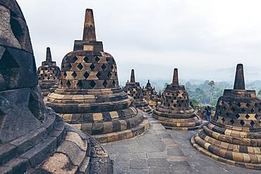 Stupas of Borobudur Temple; Yogyakarta, Indonesia