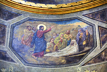 Fresco, Church of St Anthony, reconstructed in 1673, Old Town Bucharest; Bucharest, Romania
