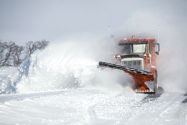 Snow plough moving fresh snow; Sault St. Marie, Michigan, United States of America