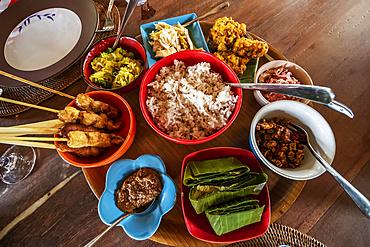 Balinese dishes served at Ruma Desa Balinese Home and Cooking Studio; Banu, Bali, Indonesia