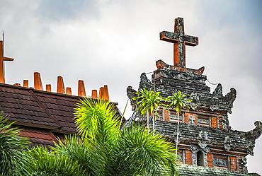 Cross atop Pura Gereja (The Temple of Church) in the Calvinist village of Blimbingsari; Bali, Indonesia