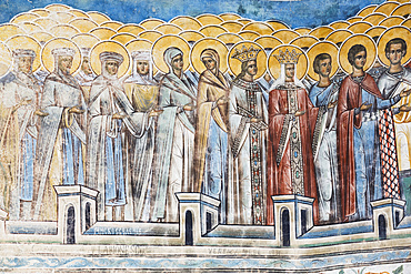 Exterior frescoes, portion of 'Last Judgement', Voronet Monastery, 1487; Gura Humorului, Suceava County, Romania