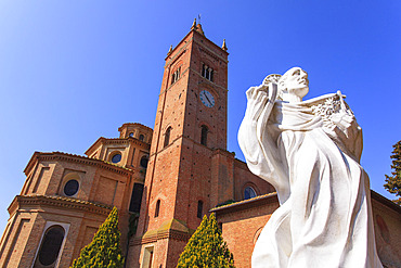 Close-up of the statue of Santa Bartolomeo in the courtyard in front of the Benedictine Abbey of Monte Oliveto Maggiore; Siena, Tuscany, Italy
