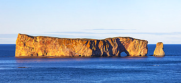 Perce Rock in the Gulf of Saint Lawrence, Bonaventure Island and Perce Rock National Park; Perce, Quebec, Canada