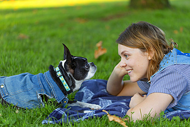 An owner delighting in a recovery dog, whose days are numbered; North Vancouver, British Columbia, Canada