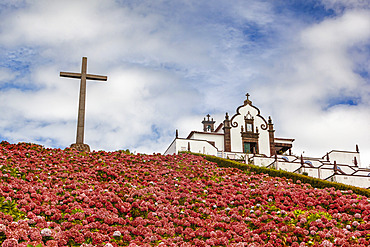 Cross and blossoming flowers on a hillside at Hermitage of Nossa Senhora da Paz; Soa Miguel, Azores, Portugal