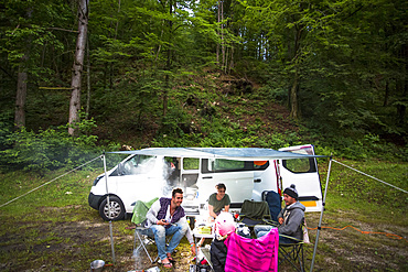Travellers take their vehicle camping; Bled, Slovenia