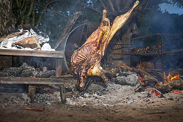The Blue Duck lodge located in the Whanganui National Park is a working cattle farm with a focus on conservation. Local meat is cooked over an open fire; Retaruke, Manawatu-Wanganui, New Zealand