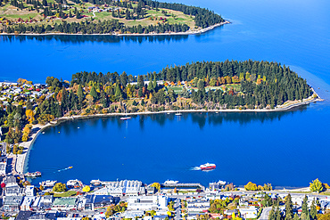 The stunning lakeside view of Queenstown's Lake Wakatipu as seen from above the city centre;
