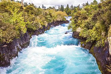 Scenic overview of the Huka Falls along the Waikato River and surrounding area;  Wairakei, New Zealand