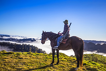 The Blue Duck lodge located in the Whanganui National Park is a working cattle farm with a focus on conservation. Travellers go to a scenic viewpoint to watch the sunrise over the rainforest; Retaruke, Manawatu-Wanganui, New Zealand