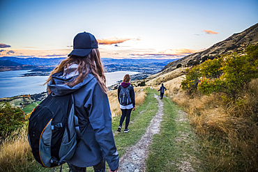 The strenuous yet highly rewarding hike to Roys Peak in Wanaka. The hike is difficult but the views are spectacular. Young women on the trail of a hillside with sheep; Wanaka, Otago, New Zealand