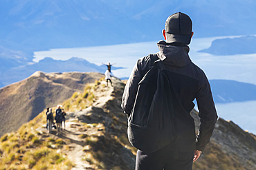 The strenuous yet highly rewarding hike to Roys Peak in Wanaka. The hike is difficult but the views are spectacular; Wanaka, Otago, New Zealand