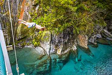 The Blue Pools of Makarora offer enticing blue waters to swim in. A man jumps off a bridge into the water in Mount Aspiring National Park; Makarora, New Zealand