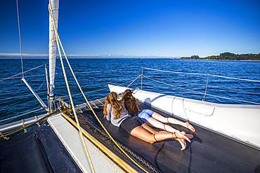 A catamaran boat tour through New Zealand's Abel Tasman National Park; Tasman, New Zealand
