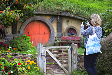 The tourist stop of Hobbiton on New Zealand's North Island. The site of the filming of the Lord of the Rings movies; Hobbiton, Waikato, New Zealand