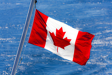 Canadian Flag on Ferry, Inside Passage, British Columbia, Canada