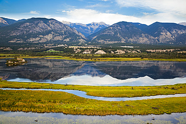 Columbia National Wildlife Area in foreground, Canadian Rockies across from Rocky Mountain Trench near Invermere, BC, Canada