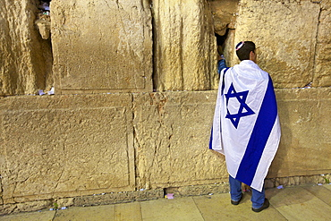 Worshipper at The Western Wall, Jerusalem, Israel, Middle East