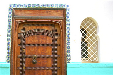 Traditional Moroccan decorative wooden door, Tangier, Morocco, North Africa, Africa