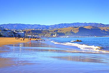 Playa de las Canteras Beach, Santa Catalina District, Las Palmas de Gran Canaria, Gran Canaria, Canary Islands, Spain, Atlantic, Europe
