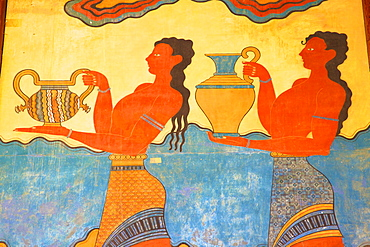 Cup-Bearer fresco in the South Propylon, The Minoan Palace of Knossos, Knossos, Heraklion, Crete, Greek Islands, Greece, Europe