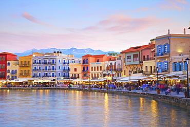 The Venetian Harbour at dusk, Chania, Crete, Greek Islands, Greece, Europe