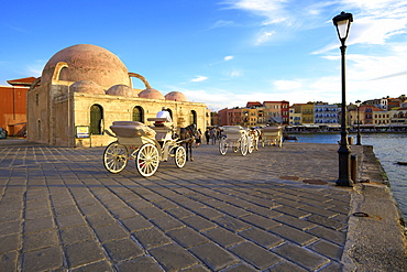 Horse and Carriage Infront Of The Mosque of the Janissaries, Venetian Harbour, Chania, Crete, Greek Islands, Greece, Europe