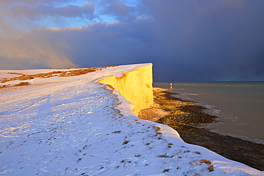 Snow covered Beachy Head and Lighthouse, Eastbourne Downland Estate, Eastbourne, East Sussex, England, United Kingdom, Europe