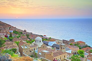 Sunrise Over Monemvasia, Laconia, The Peloponnese, Greece, Europe