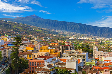 View over La Orotava towards Mount Teide, Tenerife, Canary Islands, Spain, Atlantic Ocean, Europe
