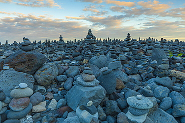 Stone Displays at Playa Jardin, Puerto de la Cruz, Tenerife, Canary Islands, Spain, Atlantic Ocean, Europe